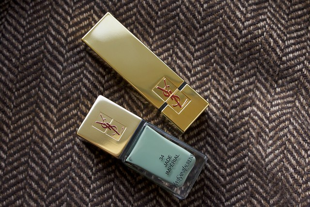 01 YSL Jade Imperial + YSL Rouge Pur Couture #2 Rouge Pourpres lipstick watches