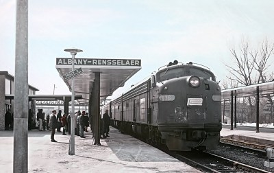 Roger Puta caught Penn Central E8A 4036 with Empire Service Train 71 arriving Albany-Rennsselear, NY on February 22, 1970