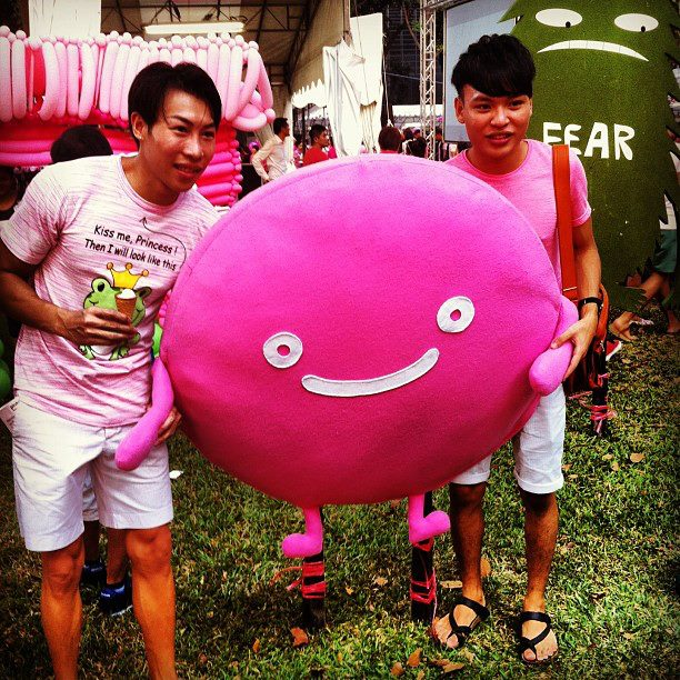 Two guys posing for a photo at Pink Dot 2013. #iseefreedom