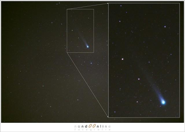 Voor dag en dauw op jacht naar komeet Lovejoy - een uitvergroting