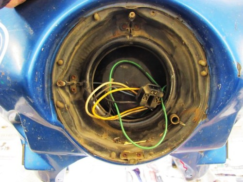 Headlight Frame Glued Inside Fairing Hole