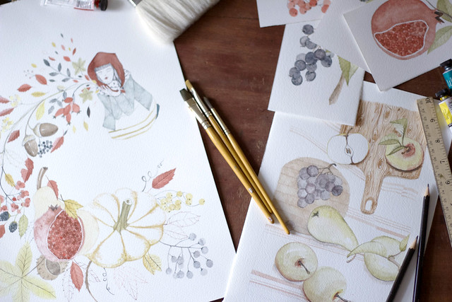 Autumn inspired gouache paintings and illustrations