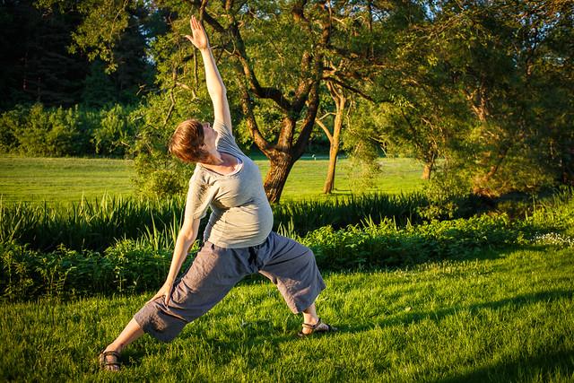 Ellen doing yoga