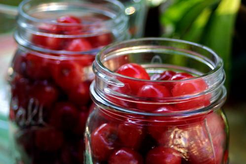 Cherries in jars
