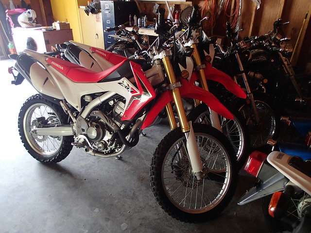2103 Honda CRF 230L squished into the shed