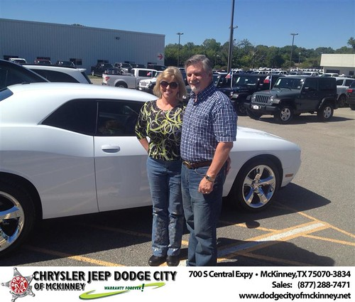 Thank you to Terrie Rogers on your new 2013 #Dodge #Challenger from Jerry Lawrence and everyone at Dodge City of McKinney! #NewCarSmell by Dodge City McKinney Texas