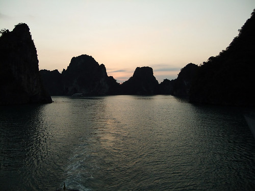 Sunrise seen while cruising Ha Long Bay in Vietnam
