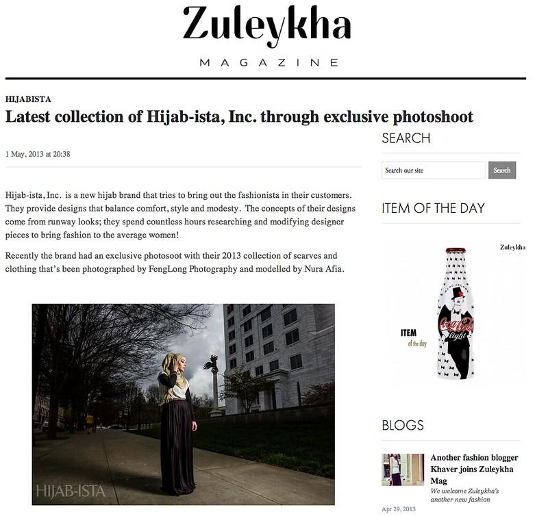 Hijab-ista Fashion Shoot published on Zuleykha Magazine