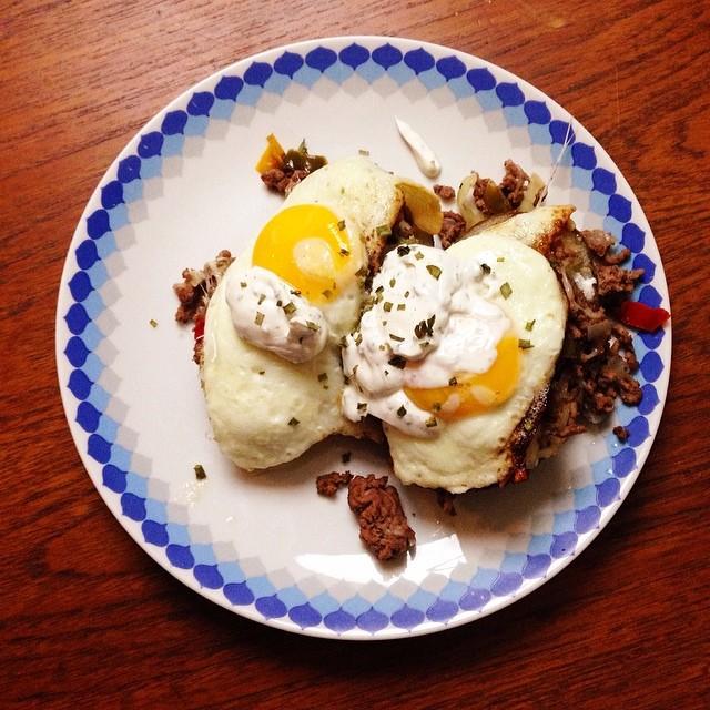 Stuffed Potato Skin Skillet Hash with Fried Eggs