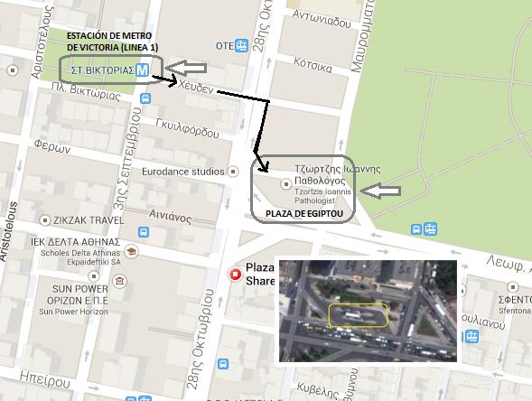Mapa desde la estación de metro hasta la plaza Egiptou desde donde salen los autobuses a Sunion Cabo Sounion Cabo Sounion y el Templo de Poseidón 12273046176 4042b030f0 o