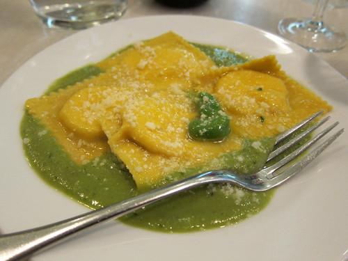 Ricotta ravioli with broad bean puree and pecorino