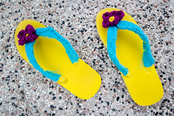 Brightly coloured pair of Flip Flops.