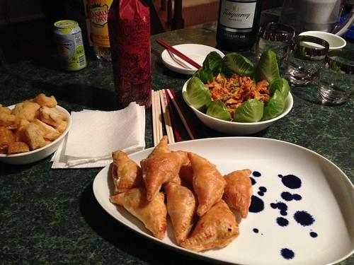 Banh Pate So meat puff pastries and calamari salad appetizers