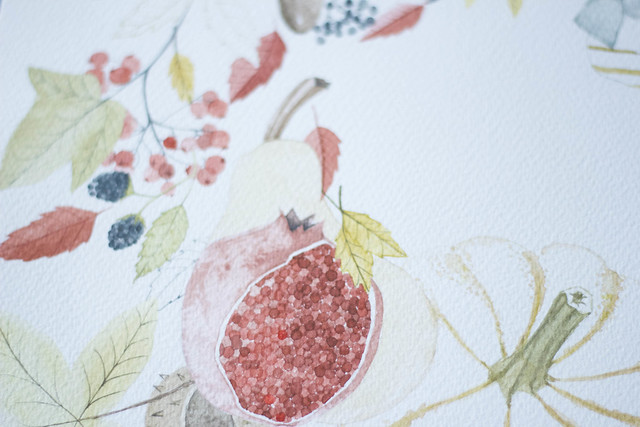 autumn painting pomegranate detail