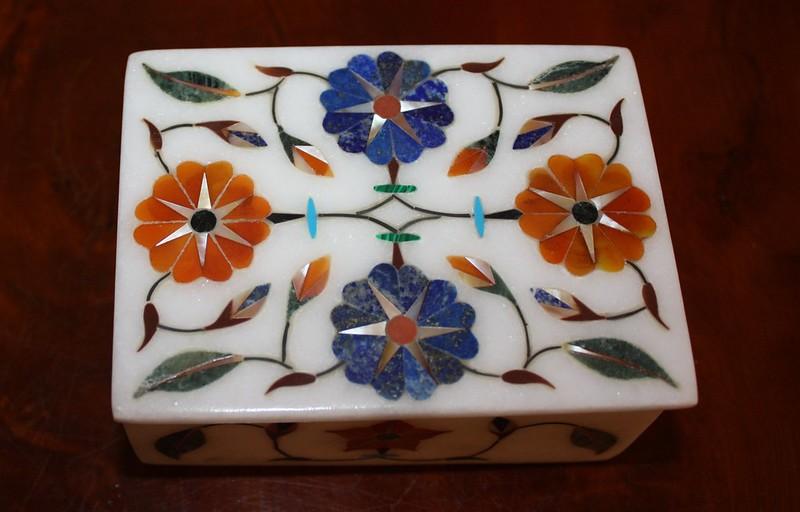 India Stone box with precious stones