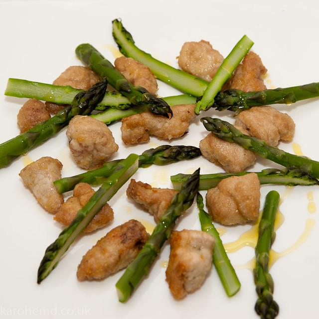 Lamb sweetbreads, local asparagus
