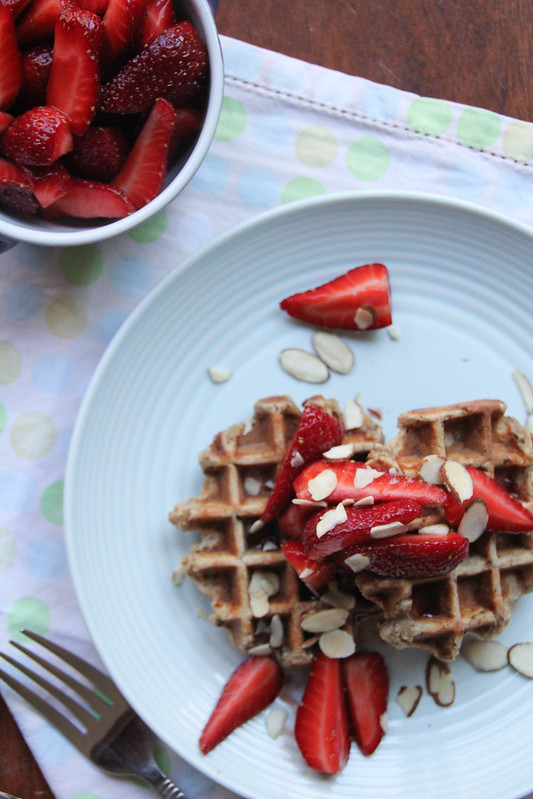 multigrain banana waffles w balsamic macerated strawberries