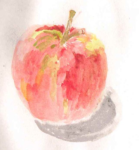 whole apple watercolour