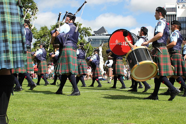 The NZ Police pipe band were there