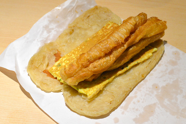sao bing you tiao (thin flatbread with Chinese donut and egg)