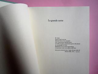 Chris Adrian, La grande notte. Einaudi 2013. [resp. gr. non indicate]; alla cop.: Sean Boggs/Vetta/Getty Images. Pagina dell'esergo (part.), 1