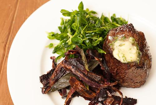 Steak, Purple Carrots and Pea shoot salad