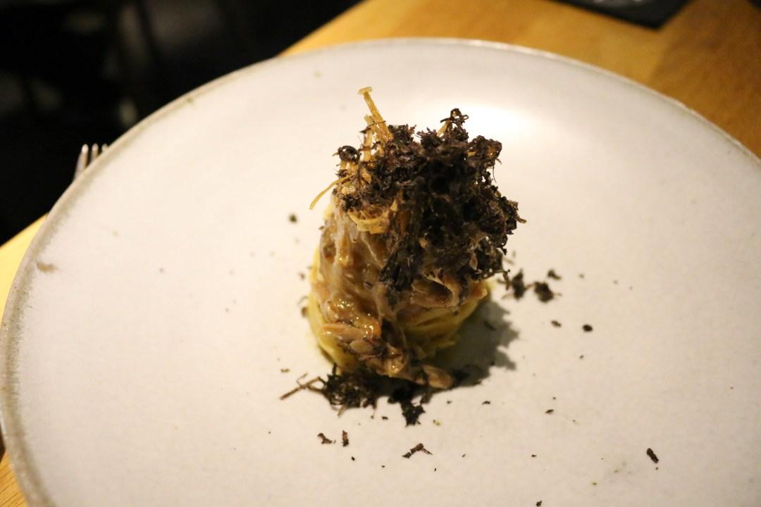 Tagliatelle, duck, kombu, umeboshi and truffle