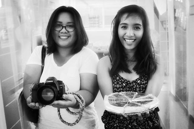 a camera and a pie