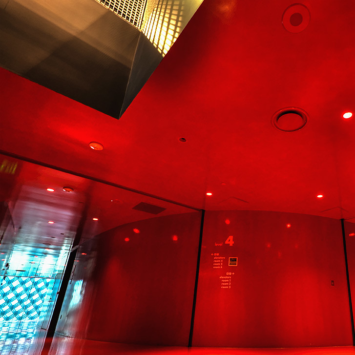 In the hall of the Crimson Geometer - Seattle Central Library