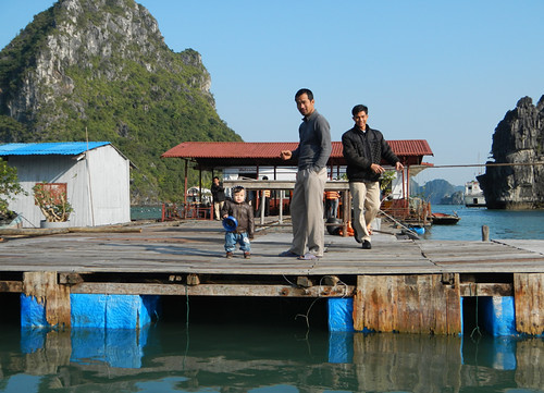 the welcoming committee at the Halong Bay pearl Farm