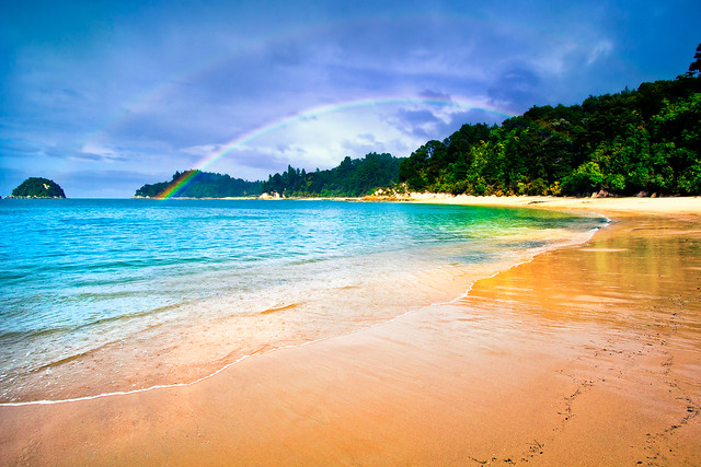 Beach Rainbow in Abel Tasman by Michael Matti