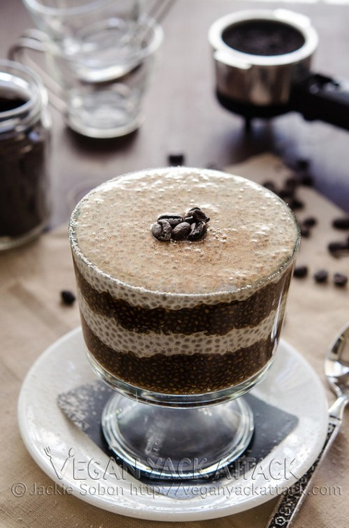 A chilled Vanilla Latte Chia Parfait, with it's layers of creamy vanilla and caffeinated coffee, makes for a great summer breakfast to get you going!