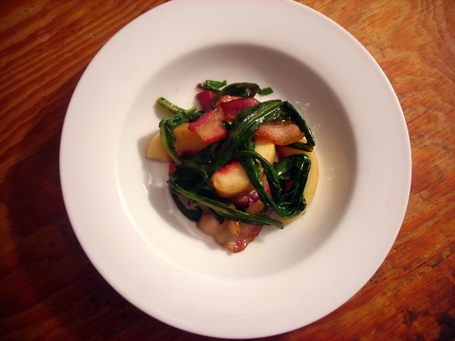 Smoked bacon, white peaches, chard