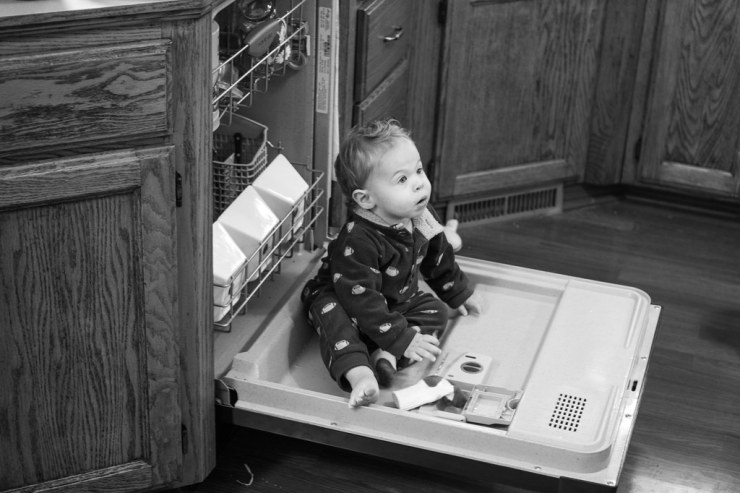 Micah in the dishwasher BW