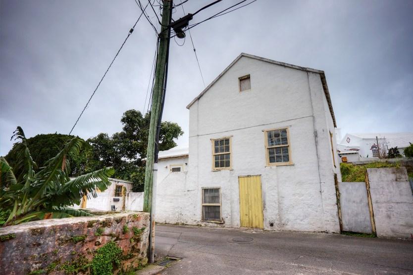 House with yellow door, St George, Bermuda.