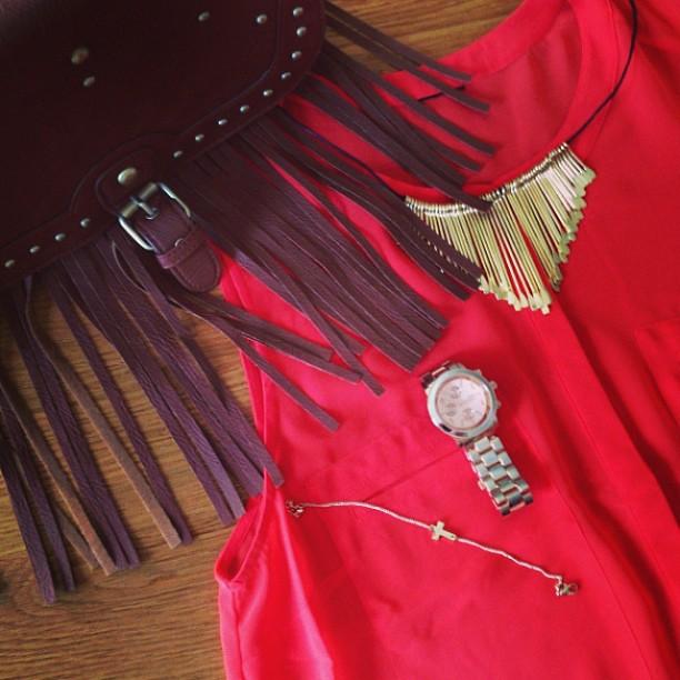 #ootd #gold #orange #leather #bag