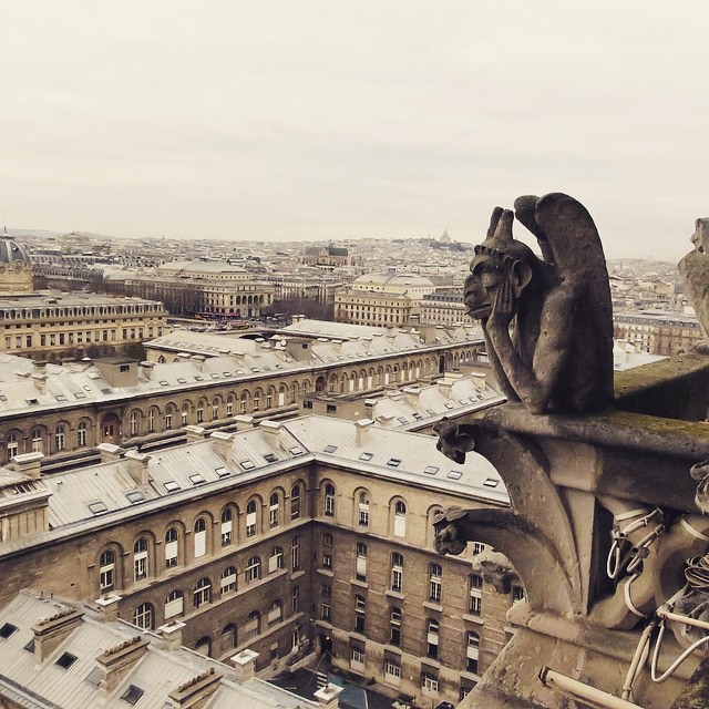 Paris Day One: Gargoyle on top of Notre Dame.