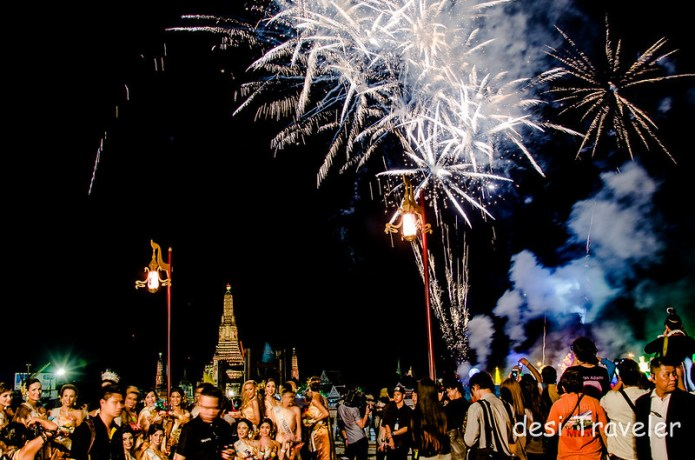 Loi Krathong Fire works Bangkok Thailand