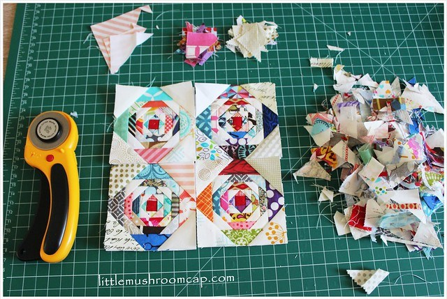 sewing pineapple paper-pieced blocks - the mess from paper piece -pick the usable pieces