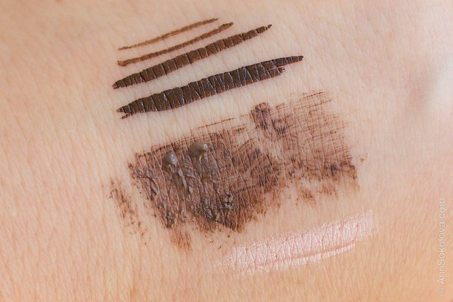 05 Collistar Eye Liner Grafico   Laura brown, Eyebrow Gel 3 in 1 #1 Biondo Virna, Eyebrow Pencil swatches
