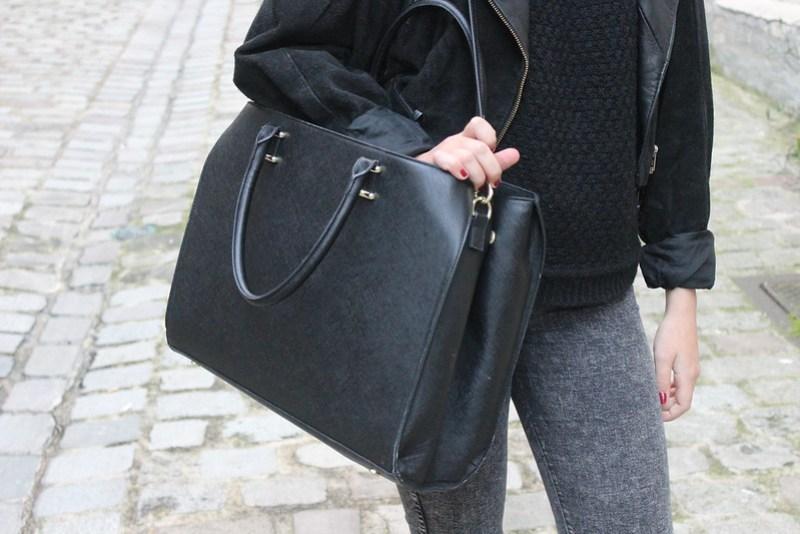 sac à main assez grand pour un ordinateur noir