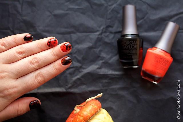 10 Morgan Taylor Halloween Collection 2014   Orange Crush swatches splatter nails