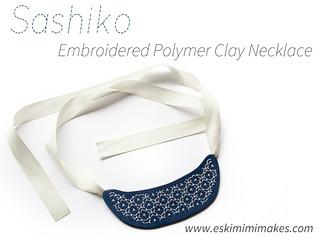 Sashiko Stitched Polymer Clay Necklace Tutorial