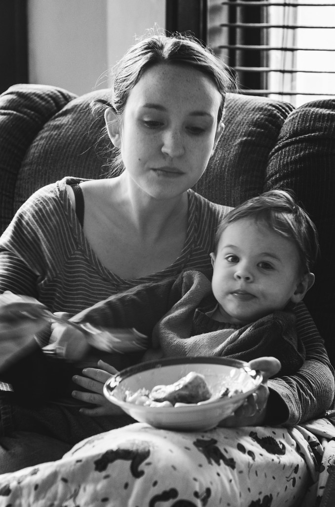 Mommy and Micah and a Cinnamon Roll
