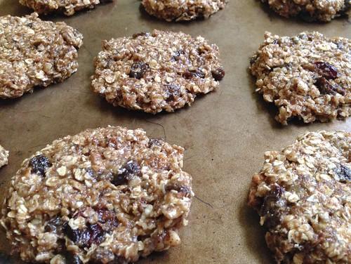 press breakfast cookies into discs before baking