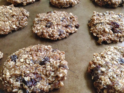 press breakfast cookies into discs before baking