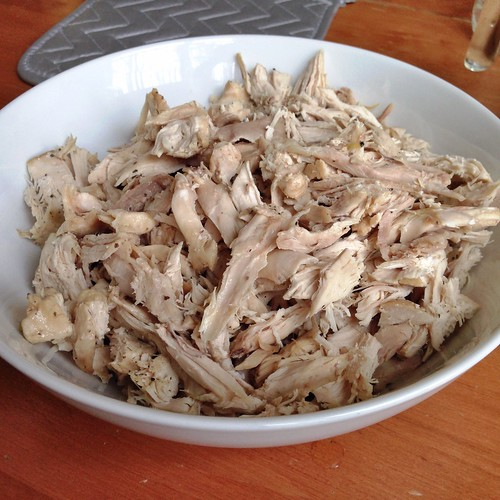 Shredded chicken for chicken noodle soup