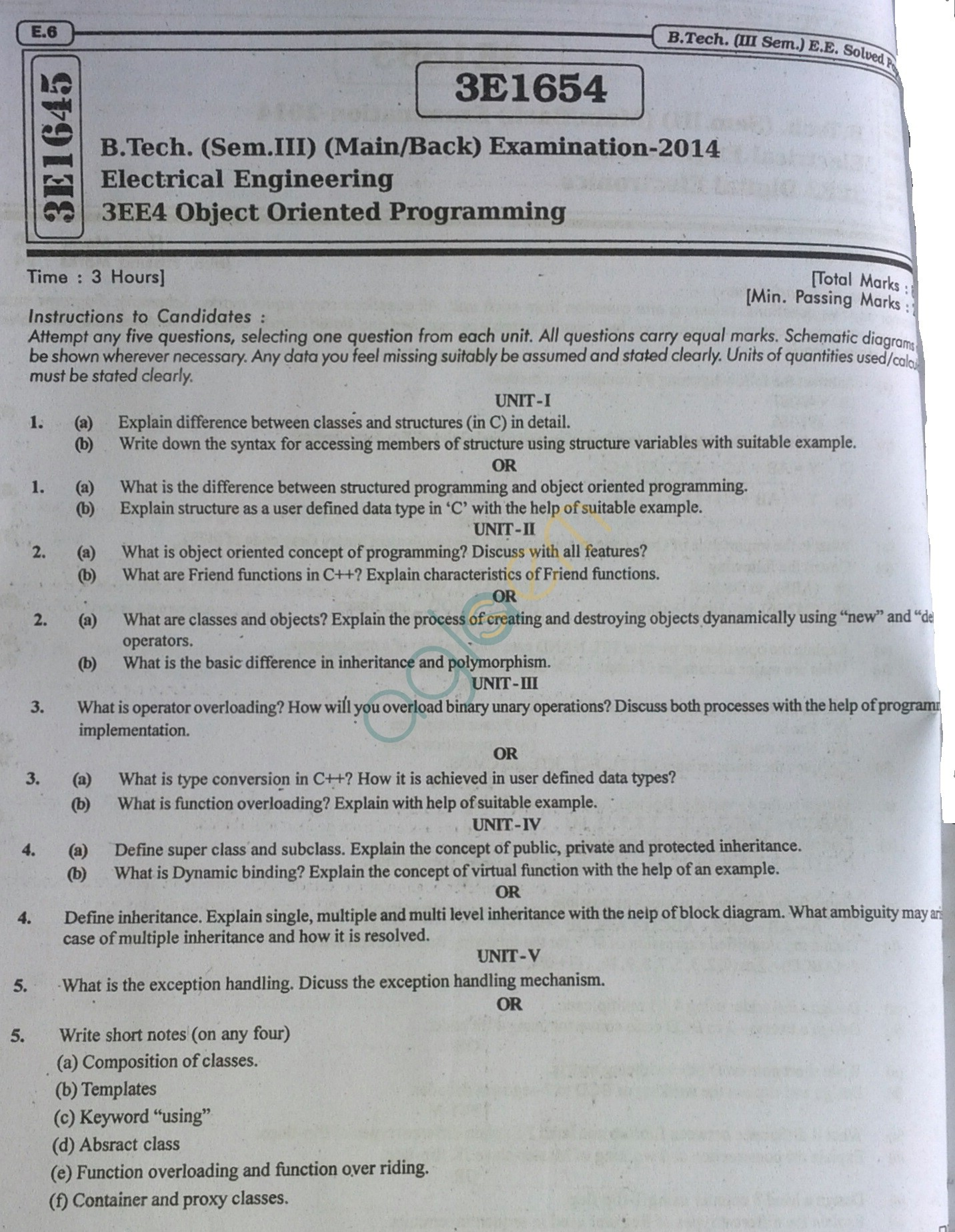 RTU: Question Papers 2014 - 3 Semester - EE - 3E1654
