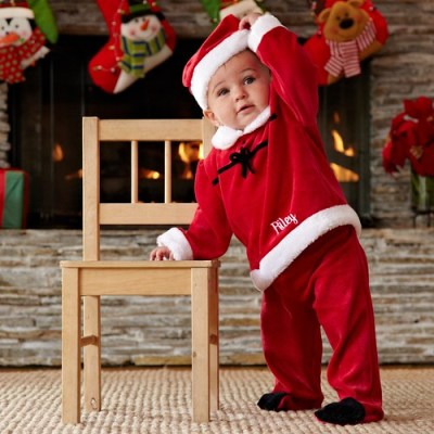 Baby in a Santa costume