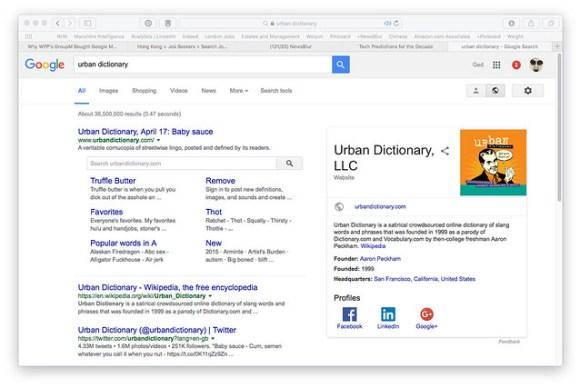 urban dictionary on Google SERP